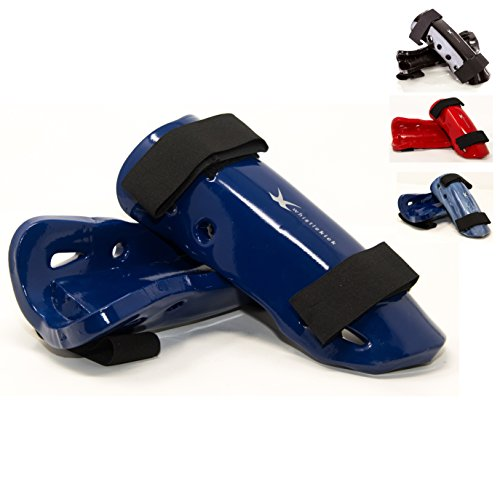 whistlekick Sparring Shin Guards - Karate Sparring Gearbox Set (Arctic (Blue) Medium) with FREE Backpack Taekwondo Sparring Gear Set Kickboxing Shin Guards MMA Shinguard Shinguards TKD