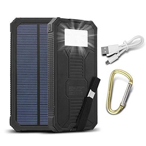 Solar Power Bank - 10000mAh Dual USB Port LED Light - Universal Portable Splash Proof Charger - Black