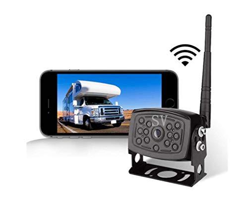 JAYE WiFi Sistema de cámara de inversión inalámbrica, IP68 Impermeable Noche visión IRs Luces traseras cámara retrovisor...