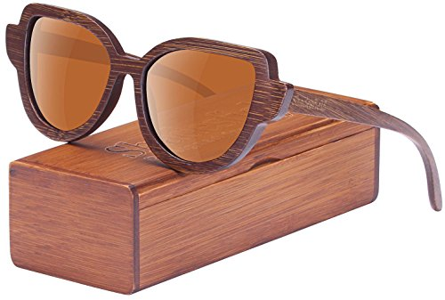 Cat Eye Polarized Wood Sunglasses for Women and Men-100% UV Protection, Full Wooden Frame - Do Hurt Eyes Your Sunglasses