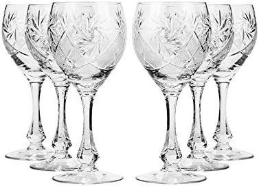Set Of 6 Neman Glassworks 10 Oz Hand Made Vintage Russian Crystal Wine Glasses Cut Crystal Goblets On A Stem Old Fashioned Glassware Wine Glasses