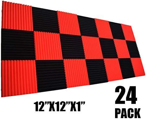 Pack de 24 paneles de pared de espuma acústica para estudio y absorción de sonido, color negro y rojo, 2,5 x 30,5 x 30,5 cm: Amazon.es: Instrumentos musicales