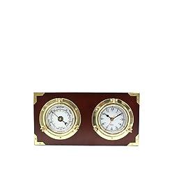 Bey-Berk Porthole Clock & Barometer on Teak Wood