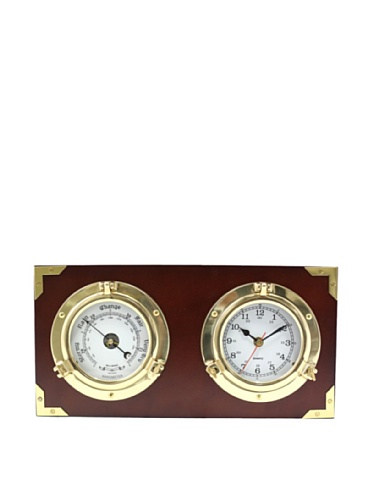Bey-Berk Porthole Clock & Barometer on Teak Wood