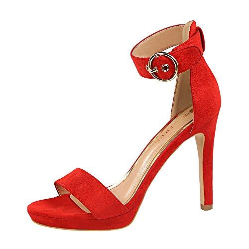 z&dw Zapatos de mujer simple tacones de tacón fino cinturón hebilla con sandalias Rojo