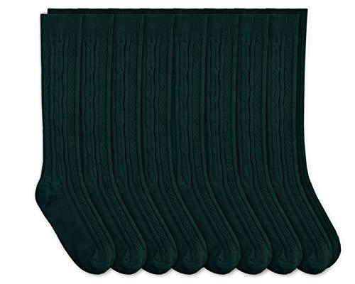 Jefferies Socks Girls School Uniform Cable Knit Knee High Socks 8 Pair Pack (S - USA Shoe 9-1 - 3-7 Years, Hunter)