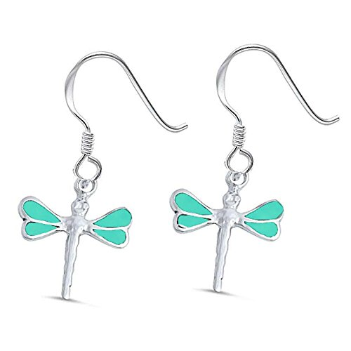(Sterling Silver Turquoise Dragonfly Earrings)