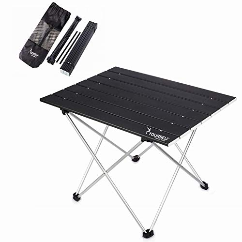 - SYOURSELF Portable Camping Table Aluminum Folding Desk with Carrying Bag, Lightweight and Durable, Compact Roll Up Tables for Indoor and Outdoor Camping Hiking Picnic BBQ Backpacking Fishing(Black)