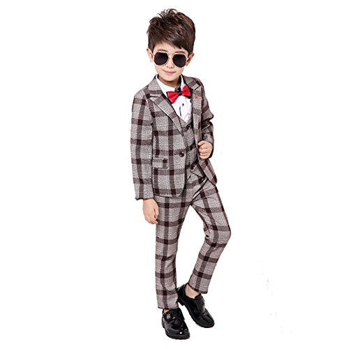 Gele Boy 4 Pieces Plaid Formal Suit Set,Vest+Pants+Blazer+Bow Tie (10, Brown)