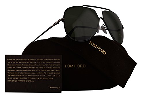 Tom Ford FT0586 Chase-02 Sunglasses Shiny Black w/Green Lens 01N TF586 - Aviators Sale Tom Ford