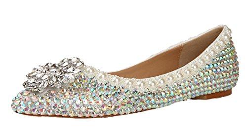 TDA Women's Comfort Comfort Comfort Beaded Studded Rhinestones Patent Leather Wedding Dress Flats Pumps B07D15856B Shoes 6b445d