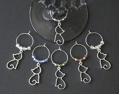 Silhouette Cats Wine Glass Charms-Set of 6