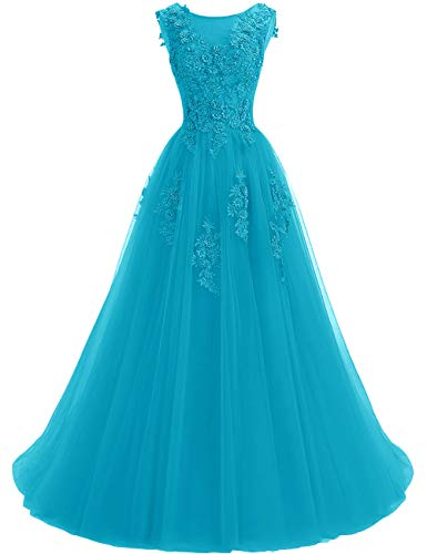 Women's A-line Tulle Prom Dresses Scoop Neck Formal Evening Ball Gown Turquoise US14 (Neck Beading Sweetheart Chiffon)