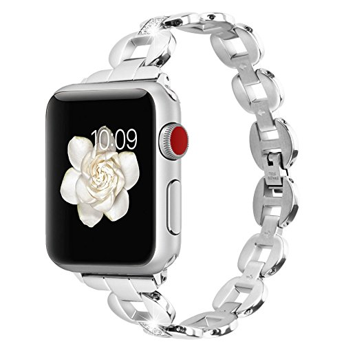 Price comparison product image Bands for Apple Watch All Editions , Huishang Women 42mm Jewelry Band Silver Classic Replacement Metal Bands Watch Strap Bracelet (42mm Silver)