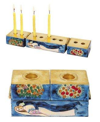 Judaica Menorah - Hanukkah Candles Holder 9 Branch - Yair Emanuel HANUKKAH MENORAH AND SHABBAT CANDLESTICKS FIGURES (Bundle) Arbel Judaica