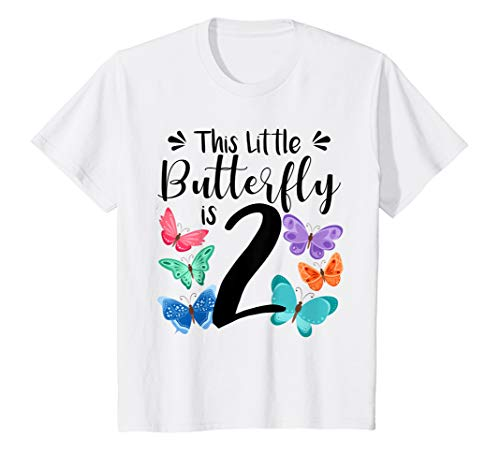 Kids 2 Year Old Butterfly Birthday T Shirt Girls 2nd Party -