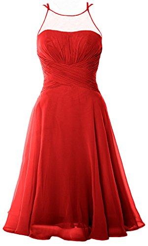 MACloth Elegant Illusion Short Cocktail Dress Chiffon Wedding Party Formal Gown Rojo
