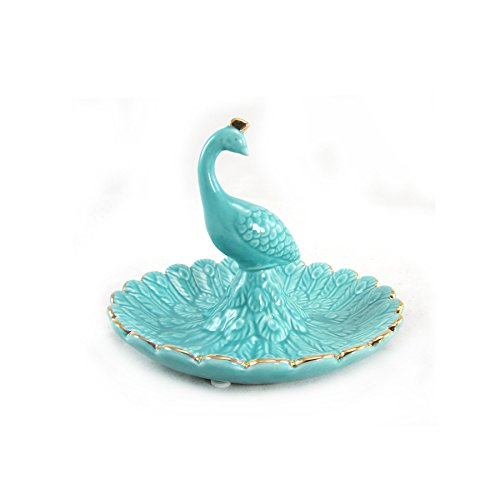 WonderMolly Blue and Gold Peacock Ceramic Ring Holder