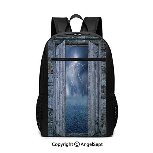 Large Capacity School Backpack,Lightning Bolt at Night from Window in A Seaside House Forces of Nature Theme Decor,Blue Grey,6.5