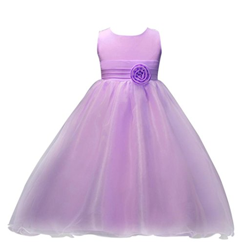 Kstare Kids Baby Girls Flower Birthday Wedding Bridesmaid Pageant Princess Formal Dress (6T, (Girls Lilac Fairy Costumes)