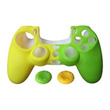 SKINOWN Two-Tone Anti-Slip PS4 Controller Skin Silicone Case for Sony PlayStation 4 matching 2 STUDDED Thumb Grip YELLOW&GREEN With Gift Package