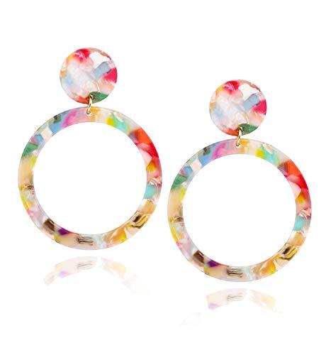 Acrylic Earrings For Women Girls Statement Geometric Earrings Resin Acetate Drop Dangle Earrings Mottled Hoop Earrings Fashion Jewelry (Red Floral-round dangle) - Floral Earrings Round