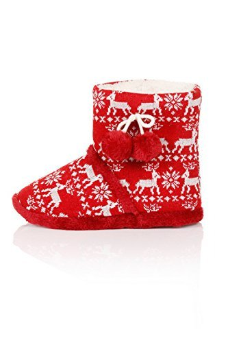 Loungeable BoutiqueFestive Fairisle - Botas Efecto Arrugado mujer Red