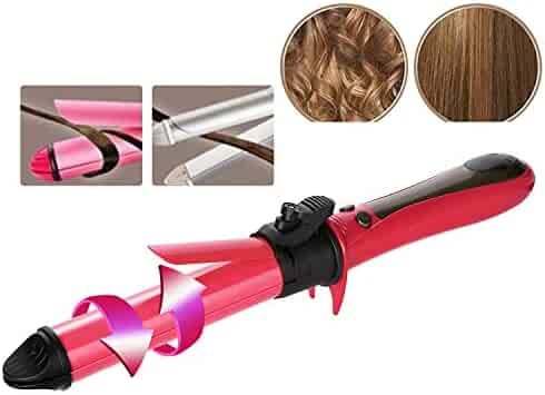 2 in 1 Hair Straightener and Curler Hair Curling Iron 1 to 1.2 Inch Spinning Hair Wand with Automatic Rotation for All Hiar Type Ceramic Flat Iron Auto Rotating Spiral Adjustable Temperature