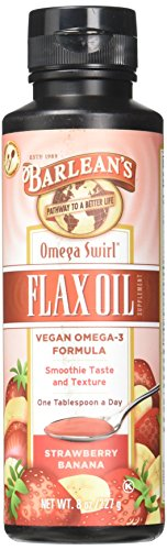 Barlean's Seriously Delicious Omega-3 Flax Oil, Strawberry Banana Smoothie, 8-oz