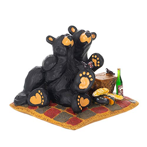 DEMDACO Butterfly Picnic Black Bear 4 x 4.5 Hand-cast Resin Figurine Sculpture