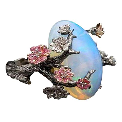 Gsdviyh36 Vintage Women Faux Opal Plum Blossom Flower Two Tone Finger Ring Jewelry Valentine's Day Charming Jewelry Gift Clothing Accessories