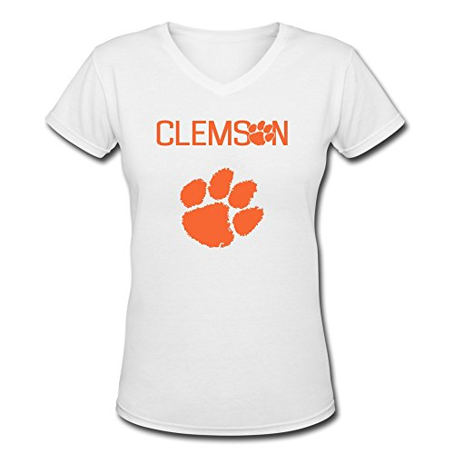 Walter Cotton Gloves (Jiaso Women's NCAA Clemson Tigers Tiger Paw Logo V-Neck Cotton Tshirts XX-Large)