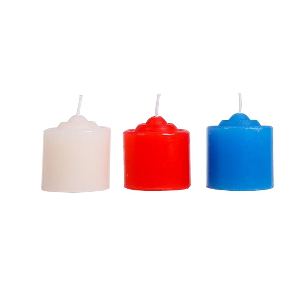 3PCS 1.5'' x 1.3'' Romantic Cylinder Low Heat Low Tempreture Dripping Candle Wax Couple Adult Lover Sex Game Tools Sm Bed Restraint(Red + Whiter + Blue) Elandy