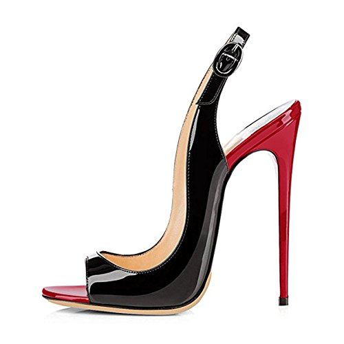 Onlymaker Women Peep Toe Heeled Sandals Slingback High Heel Stiletto Pumps for Party Dress Black and red 7 M US