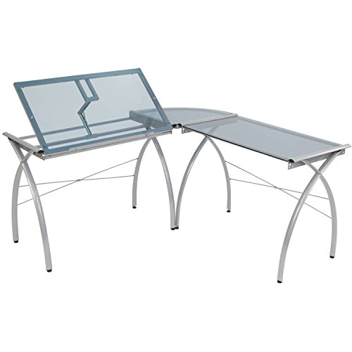 (Corner Desk Drafting Table, L Shaped, Workstation, Adjustable Split Top, Functional, Suitable for Home Office, Art Student, Work and Craft Furniture + Expert Guide)