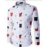 GINELO Men's Colour-Blocking Print Shirt British Gentleman Shirt, Business Slim Fit Shirt, (3XL, Orange)