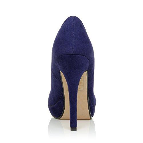 EVE Electric Blue Faux Suede Stiletto High Heel Platform Court Shoes aK68RKX