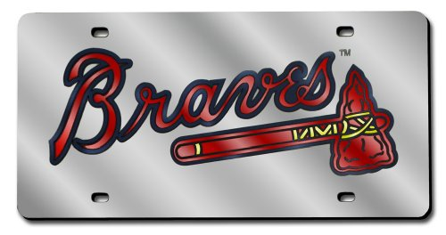 - Rico Industries MLB Atlanta Braves Laser-Cut Auto Tag (Silver)