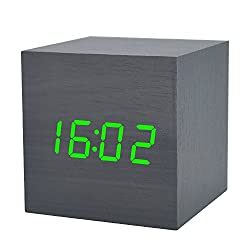 Wooden Alarm Clock LED Electronic Digital Calendar Desktop Cube Mute Temperature Time Date Home Bedroom Bedside Clock with Sound Control Function (Black Wood Green Light)