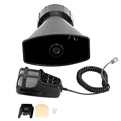 Partol 100W 12V 7 Tone Sound Car Siren Speaker Mic PA System Emergency Sound (100 Watt Car Speaker)