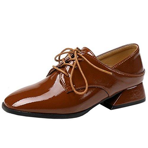 1 Mujer Casual Cordones Zanpa Zapatos Brown O4xgq