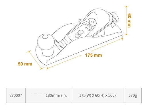 Mini handheld Carpenter DIY Woodworking Planer with T10 Alloy Steel Blade 180mm/7inch