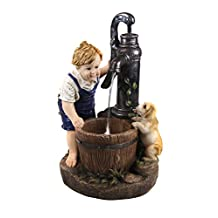 Alpine 26-Inch Boy and Water Pump Fountain with Led Light