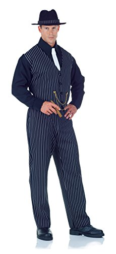 [Underwraps Men's Plus-Size Mobster -Plus, Black/White, XX-Large] (Male Mobster Costumes)