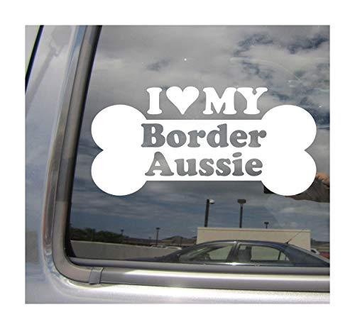 I Heart Love My Border Aussie - Dog Bone Collie Australian Shepherd Mix Hybrid Breed Cars Trucks Moped Helmet Hard Hat Auto Automotive Craft Laptop Vinyl Decal Store Window Wall Sticker 13165