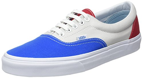 Vans Unisex Era (2-Tone Check) Skate Shoe (9.5 B(M) US Women / 8 D(M) US Men, Blue/Gray/Red)