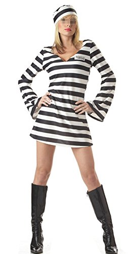 NewDong Adult Striped Prisoner Costume Black White Long Sleeved Uniform Cosplay For Mens Womens -