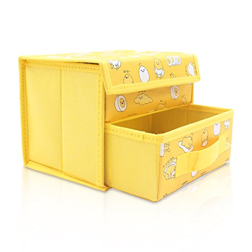 Finex Yellow Gudetama Foldable Storage Organizer Box for Desk Lazy Egg Yolk - with Removable Drawer