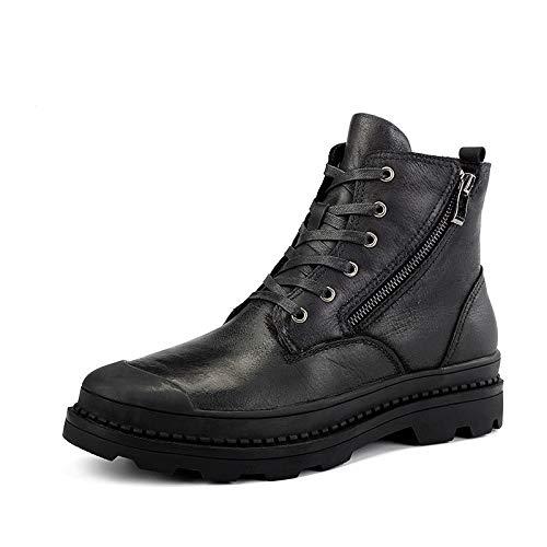 Jincosua Mens Lace up Side Zip Chukka Stiefel aus echtem Leder Pelz gefüttert Ankle Stiefel (Farbe   Schwarz, Größe   EU 46)