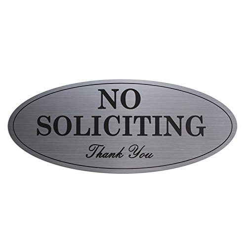 - No Soliciting Sign Brushed Surface with Engraved Letters Oval on Door or Wall (Small 2